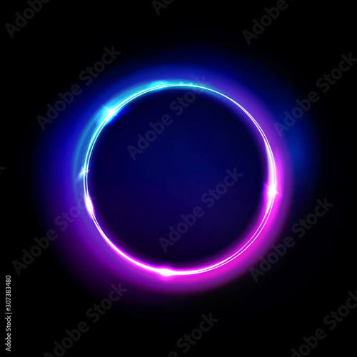 Fototapeta Neon circle sign vector. Light and glow round frame isolated on black background. Purple, violet, blue and pink electric bright 3d circular portal, laser, neon lamp bulb banner. obraz
