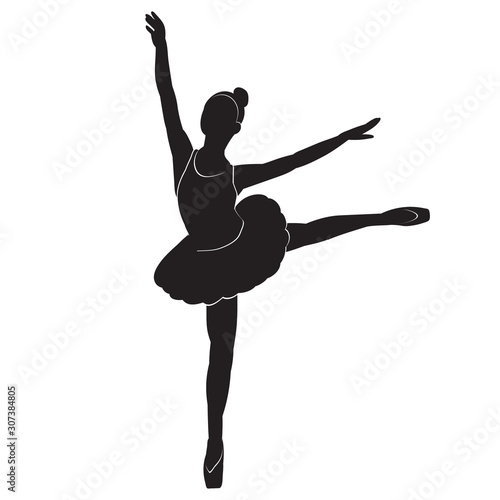 Obraz na plátně silhouette with lines of a ballerina of a dancing girl, ballet