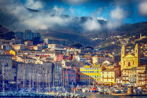 Bastia, a beautiful city on the island of Corsica, France, a view of the historic center of the city, a port with boats and yachts Wallpaper Mural