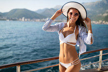 Young Sexy Woman In Bikini Enj...