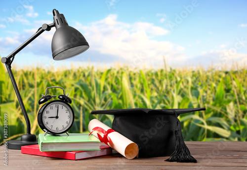 Fototapeta Mortar board, diploma, lamp, clock and books on table. Concept of high school graduation obraz