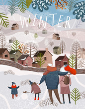 Winter Holiday. Vector Illustration Of A Happy Family On A Walk On Nature Near The City For New Year And Christmas. Drawing Of Mother, Father And Children For A Card, Background Or Poster.