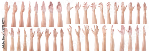 GROUP of Male asian hand gestures Full turn view isolated over the white background Wallpaper Mural