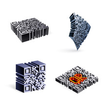 Set Of 3D QR Code. Icons Abstract QR Code Illustration Isolated On White Backdrop. Smart Technology QR Code, Data Identification And Information Transmission