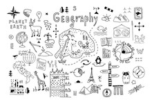 Symbols And Drawings For A School Geography Lesson, Set On A White Background. Hand Drawn Vector Doodle Line Illustration. Globe, World Map, Animals, Signs, Schemes. Design Of Cover, Banner.