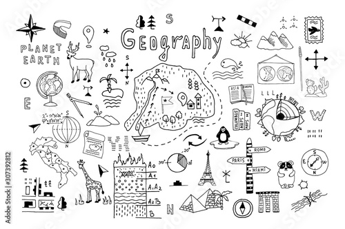 Valokuvatapetti Symbols and drawings for a school geography lesson, set on a white background