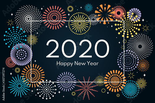Photo Vector illustration with colorful fireworks frame on a dark blue background, text 2020 Happy New Year