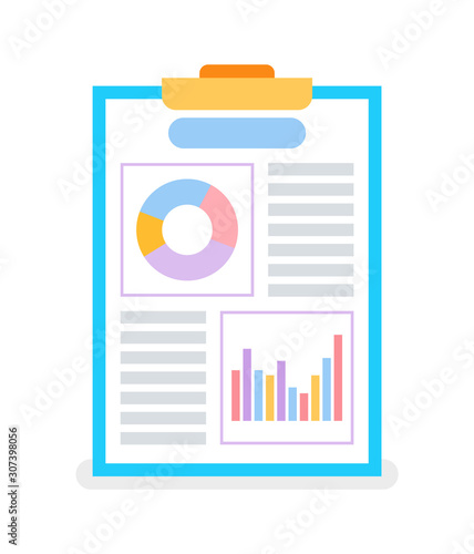 Page with diagrams and graphs on flip chart vector isolated Canvas-taulu