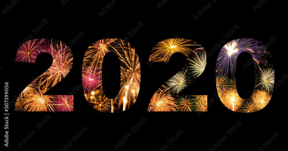 Fototapeta New year celebration fireworks on text 2020 for new year's event
