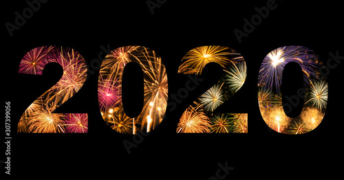 New year celebration fireworks on text 2020 for new year's event Canvas Print