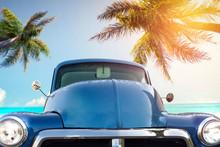 Summer Blue Car On Beach And F...