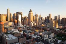 Sunset Panorama Of Manhattan's...