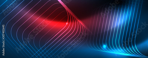 Neon glowing techno lines, hi-tech futuristic abstract background template, vector