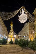 Graben Street In Vienna With The Plague Column, Austria