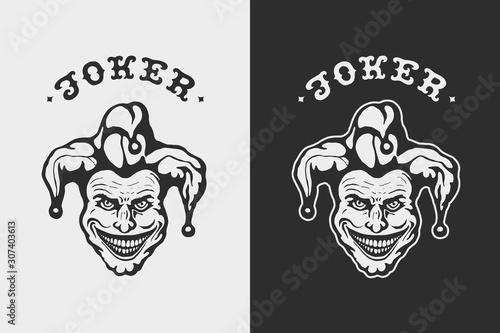 Fotomural Laughing Head Joker. Craft retro graphic design.