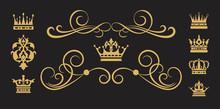 Design Elements. Gold On Black. Vector