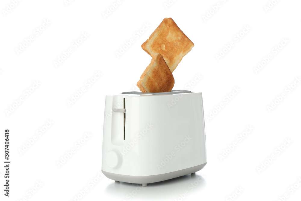 Fototapeta Toaster and bread slices isolated on white background
