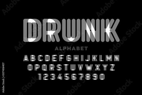 Obraz na plátně  Drunk style font design, alphabet letters and numbers