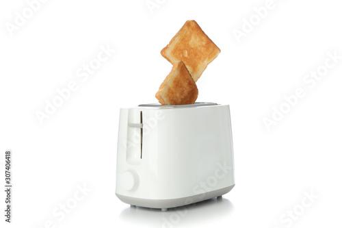 Toaster and bread slices isolated on white background Obraz na płótnie