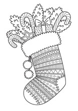 Doodle Coloring Book Page For Adult. Christmas Sock With Sweets.