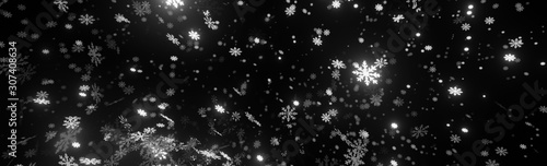 Fotografie, Obraz  Bokeh abstract Christmas and new year background with stunning motion of snowflakes lighting