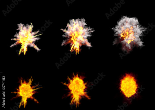 Photo six round explosions of rocket interception blast or anti air gun shell hit or v