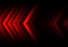 Abstract Red Light Line Arrow Speed Direction On Black Blank Space Design Modern Futuristic Technology Background Vector Illustration.