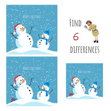 Find 6 Differences. Educational Game For Children. Cartoon Snowman In Santa Hat. Christmas Puzzle
