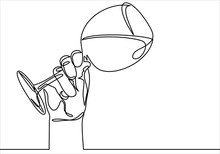 Continuous Line Drawing Of Hand Holding Glass. Template For Your Design. Vector Illustration.