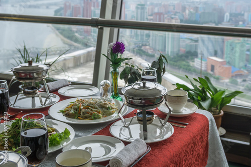 Photo View from the revolving restaurant, Hotel in Pyongyang, North Korea