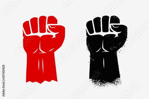 Cuadros en Lienzo Raised clenched fist. Graphic symbol vector illustration