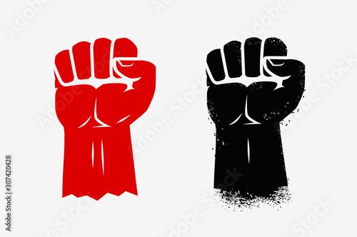 Obraz na plátně Raised clenched fist. Graphic symbol vector illustration