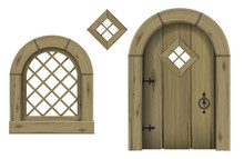 Antique Wooden Arched Door And Window