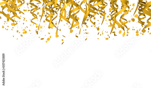 Drop oval confetti and gold-colored ribbons Wallpaper Mural