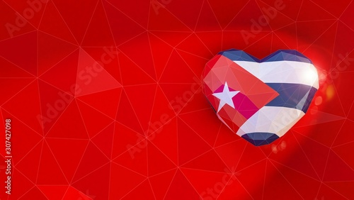 Republic of Cuba national flag 3D heart background Canvas Print