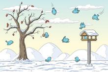 Birds In Winter At A Feeding S...