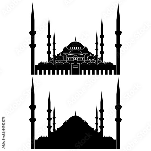 Fotografia Set with Mosque silhouette icon logo template