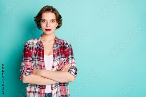 obraz dibond Portrait of serious gorgeous work expert girl worker cross hands ready choose choice decide decision solution wear stylish clothes isolated over teal color background