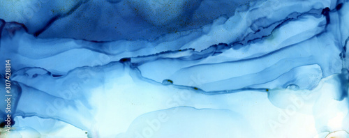 Art Abstract blue paint blots background. Alcohol ink colors. Marble texture. Horizontal long banner..