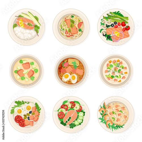 Leinwand Poster Dishes With Salmon Vector Set