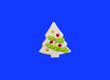 Leinwanddruck Bild - Glazed cookie in form of Christmas tree decorated with colorful frosting on blue background, top view