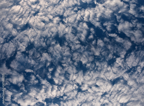 Altocumulus puffy white clouds against a blue sky Wallpaper Mural