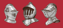 Vector Image Of Medieval Knightly Helmets In Renaissance Graphic Style
