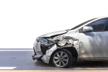 Front Of White Color Car Damag...