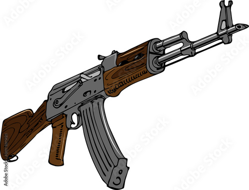 Fotografia vector image of soviet assault rifle in art sketching style