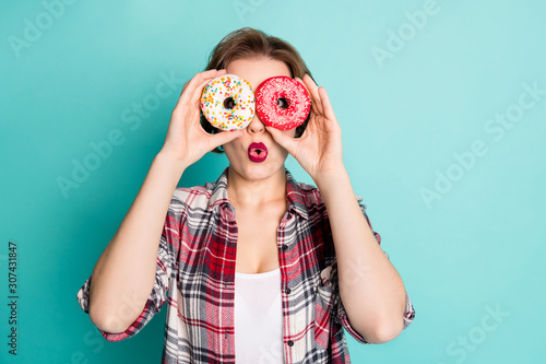 Close up photo of crazy teen girl hold two donuts make binoculars watch neighbor Canvas Print