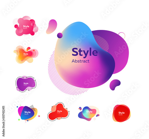 Fototapety, obrazy: Multi-colored abstract liquid shapes. Dynamical colored forms. Gradient banners with flowing liquid shapes. Template for design of commercial, landing page or presentation. Vector illustration