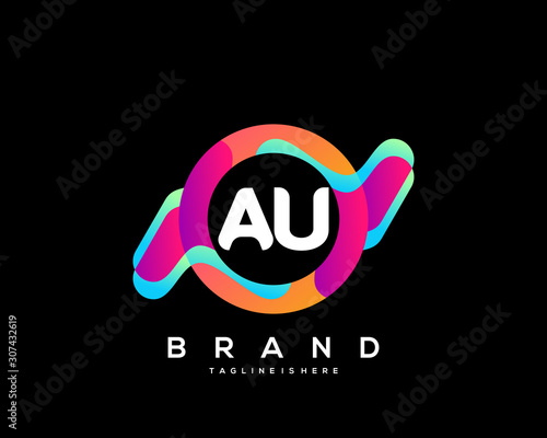 AU initial logo With Colorful Circle template vector. Canvas Print