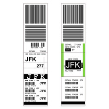 Luggage With Airport Sticker Label - Suitcase With Tag And JFK New York Airport Sign