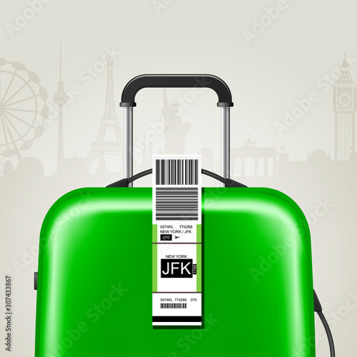 Sticky baggage label with JFK New York airport sign, hand luggage tag template Canvas Print